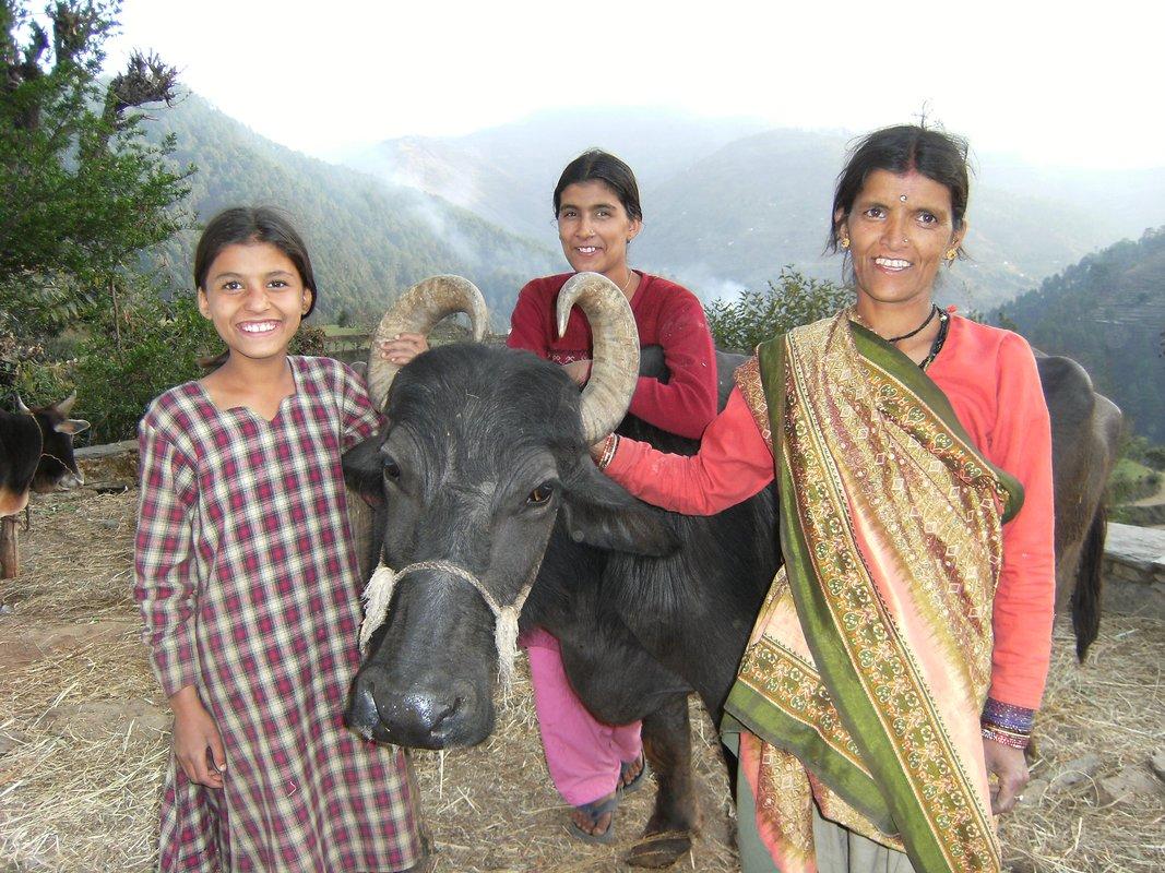 Indische Mutter mit ihren beiden Töchtern und Kuh in ihrer Mitte, glücklich mit natürlicher Landwirtschaft